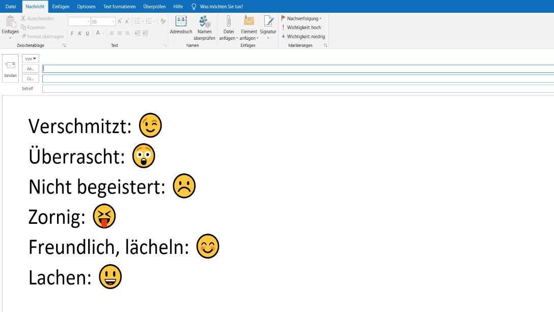 Smileys in email einfügen outlook 2007